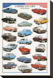 American Cars of the Fifties Reproduction transférée sur toile