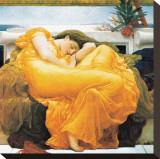 Flammande juni Sträckt Canvastryck av Frederick Leighton