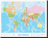Modern Map of the World Stretched Canvas Print