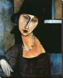 Jeanne Hebuterne Reproduction transférée sur toile par Amedeo Modigliani