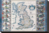 Antique Map, Britannia, Ca. 1646 Stretched Canvas Print by Jan Jansson