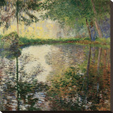 Pond at Montgeron, c.1876 Stretched Canvas Print by Claude Monet