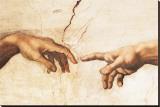 Erschaffung Adams (Ausschnitt) Bedruckte aufgespannte Leinwand von  Michelangelo Buonarroti