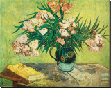 Vase with Oleanders and Books, c.1888 Stretched Canvas Print by Vincent van Gogh