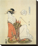 Courtesan Shiratsuyu of The House of Wakana-Ya Stretched Canvas Print by Hosoda Eishi