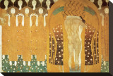 Here's a Kiss to the Whole World, Beethoven Frieze (detail), 1902 Stretched Canvas Print by Gustav Klimt