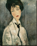Woman in Black Tie, 1917 Stretched Canvas Print by Amedeo Modigliani