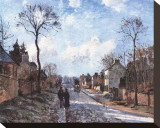 Road to Louvecienne Stretched Canvas Print by Camille Pissarro
