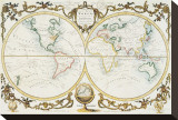 Map of the World, c.1770 Sträckt Canvastryck