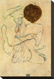 Sketch of a Nude Woman Stretched Canvas Print by Egon Schiele