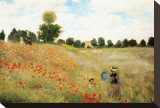 Valmuer Trykk på strukket lerret av Claude Monet