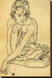 Woman Crouching, 1918 Stretched Canvas Print by Egon Schiele
