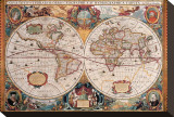 Antique Map, Geographica, Ca. 1630 Trykk på strukket lerret av Henricus Hondius