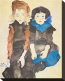 Two Girls Stretched Canvas Print by Egon Schiele