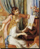 Girls at the Piano Stretched Canvas Print by Pierre-Auguste Renoir