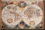 Antique Map, Geographica, Ca. 1630 Stretched Canvas Print by Henricus Hondius