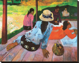 La Sieste Reproduction transf&#233;r&#233;e sur toile par Paul Gauguin