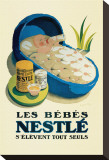 Les Bebes Nestle Stretched Canvas Print