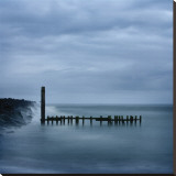 Jetty in Blue Stretched Canvas Print by Shane Settle