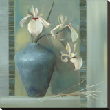 Orchids in a Blue Vase Stretched Canvas Print by Louise Montillio