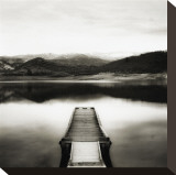 Emigrant Lake Dock II in Black and White Stretched Canvas Print by Shane Settle