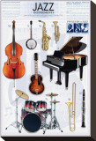 Jazz Instruments Reproduction sur toile tendue