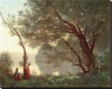 Paysage (Souvenir de Mortefontaine), 1796-1875 Stretched Canvas Print by Jean-Baptiste-Camille Corot
