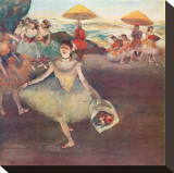 Danseuse au Bouquet Saluant Stretched Canvas Print by Edgar Degas