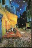 The Caf&#233; Terrace on the Place du Forum, Arles, at Night, c.1888 (detail) Stretched Canvas Print by Vincent van Gogh