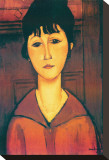Portrait Girl Stretched Canvas Print by Amedeo Modigliani