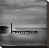 Jetty in Black and White Stretched Canvas Print by Shane Settle