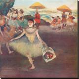 Danseuse au Bouquet Saluant Stretched Canvas Print by Edgar Degas