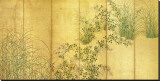 Japanese Autumn Grasses, Six-Fold Screen, Early Edo Period Reproduction transf&#233;r&#233;e sur toile