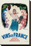 Vins de France: Sante, Gaiete, Esperance Stretched Canvas Print by Antoine Galland