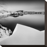 Crater Lake in Black and White Stretched Canvas Print by Shane Settle