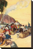 Morgan Dividing The Treasure Taken At Maraciabo Stretched Canvas Print by George Alfred Williams