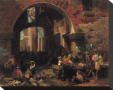 Roman Fish Market Stretched Canvas Print by Albert Bierstadt