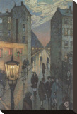 City Corner Stretched Canvas Print by Hans Baluschek