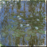 Nympheas Bleus Stretched Canvas Print by Claude Monet