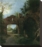 Landscape with Ruins Stretched Canvas Print by Carl Blechen