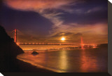 Golden Gate Moonrise Stretched Canvas Print by Harold Davis