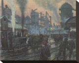 Ironworks Stretched Canvas Print by Hans Baluschek