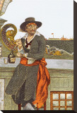 Kidd on The Deck of The Adventure Galley Stretched Canvas Print by Howard Pyle