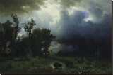 Bison Trail: Approaching Storm Stretched Canvas Print by Albert Bierstadt