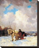 March Morning, the Red Cariole Stretched Canvas Print by Frederick Simpson Coburn