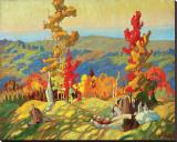 Autumn in the Northland Sträckt Canvastryck av Franklin Carmichael