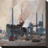 Blast Furnace of Hoesch Steel Stretched Canvas Print by Eugen Bracht