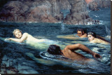 A Race with Mermaids and Tritons Stretched Canvas Print by Collier Smithers