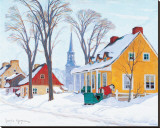 Winter Morning in Baie-St-Paul Stretched Canvas Print by Clarence Alphonse Gagnon