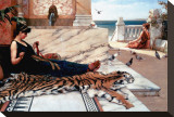The Tiger Skin Stretched Canvas Print by John William Godward